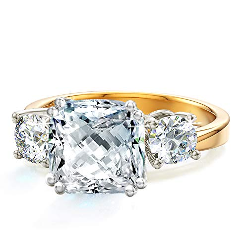 Samie Collection 3 Stone Cushion Cut AAA CZ Engagement Rings for Women Inspired by Royal Wedding with Simulated Diamond in 18K Yellow Gold & White Gold Plating, Size 6