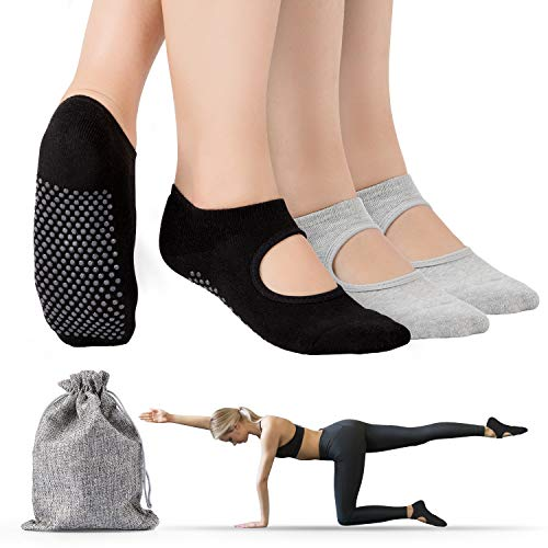 Tusscle Yoga Socken für Damen, Stoppersocken Damen abs Socken Ideal Yoga Zubehör, haussocken für Pilates, Tanz, Barre, Fitness & Trampolin [2 Paar EU35-41 ]