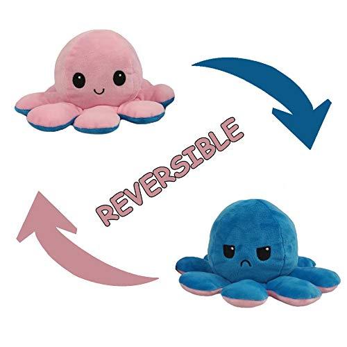 GDCB Doppelseitiges Flip Octopus Plüschtier Niedliches reversibles weiches gefülltes waschbares Octopus Animals Puppensimulationstiere Soft Plush Pillow Home Decoration