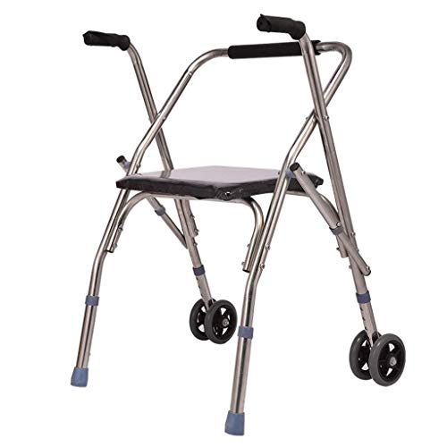 GenericBrands Aluminum Alloy Folding With Wheeled Walker Aid For Standard Disabled Walker Height Adjustable Elderly for People with Limited Mobility
