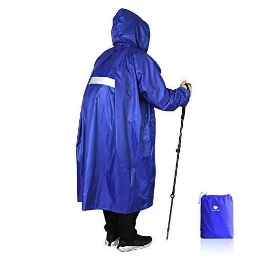 Anyoo Unisex Rain Coat Senderismo Impermeable Empaquetado Impermeable Largo