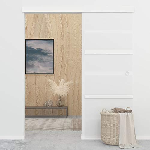 vidaXL Puerta Corredera de Deslizante Moderna Sala de Estar Salón Baño Cristal Ahorra Espacio Vidrio ESG y Aluminio Plateado 76x205 cm