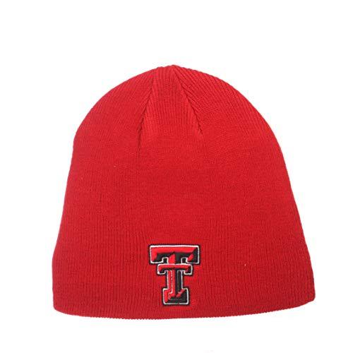 Zephyr ZHATS Edge Skull Cuffless Beanie Mütze NCAA Winter Strick Toque Cap, Texas Tech Red Raiders - Rot