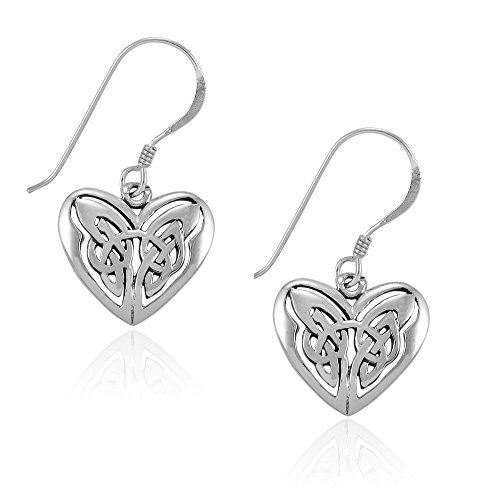 MIMI Sterling Silver Celtic Trinity Love Knot Eternal Heart Drop Hook Earrings