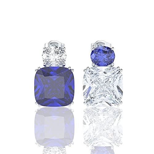 Pendiente de Zircon de Zafiro de Plata 100% sólido 925 para Mujer Pendientes de Cola de Cocktail (Gem Color : Blue)