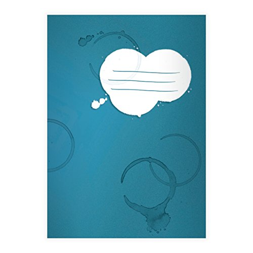 Kartenkaufrausch 1 coole vlekken DIN A4 schoolschrift, schrijfschrift met koffiekopjes randen op blauw liniatuur 20 (blanco boekje)