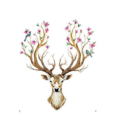 Colorful Reindeer Deer Head Wall Mural Art Sticker for Room Decor Antlers