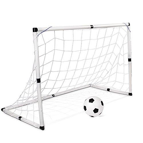 JFJL Fußballtor Für Kinder 25 mm Durchmesser PVC Rahmen Portable Soccer Tor Net Für Backyard mit 4 Pegs & Fußball und Pumpe