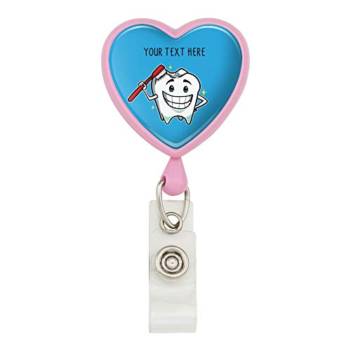 Personalized Custom 1 Line Happy Tooth Dentist Heart Lanyard Retractable Reel Badge ID Card Holder