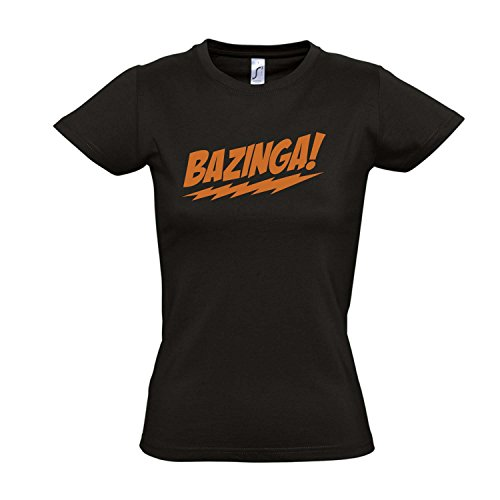 Damen T-Shirt - Bazinga, The Big Bang Theory - Fun Kult Shirt S-XXL, Deep Black - orange, XL
