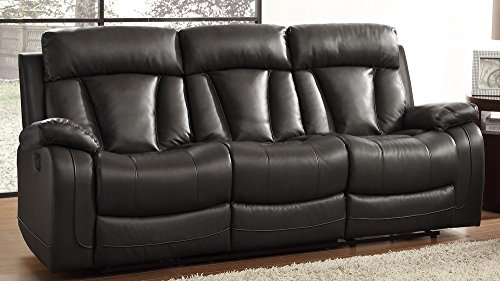 Homelegance Double Reclining Sofa, Bonded Leather Match, Black