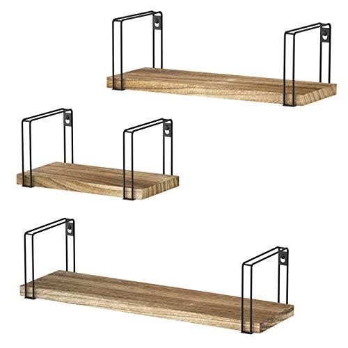 SRIWATANA Rustic Floating Shelves, Wood Wall Shelves Set of 3, Wall Mounted Hanging Shelves for Bedroom, Living Room, Kitchen, Bathroom, Carbonized Black