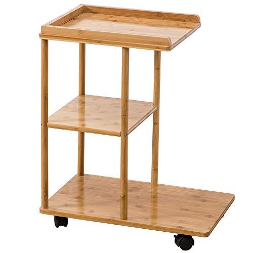 Étagère Peaceip Bamboo Moving Salon Petite Table De Chevet Nordic Mini-Chambre Table De Chevet Assembler des Tables De Coin Modernes avec des Roues