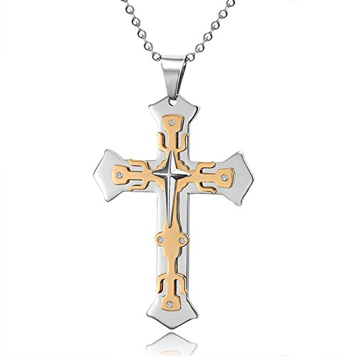 Aooaz Edelstahl Halskette Herren Kette Kreuz Anhänger Halskette Gold Silber
