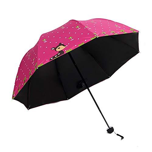 Monbedos - Parasol Plegable para el Sol y la Lluvia, diseño de Ciervo, Color Negro Rojo Rose Red 110 * 60cm