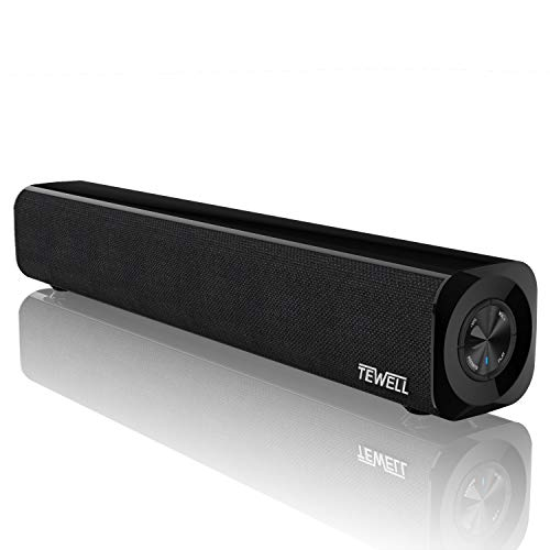 TEWELL Mini Sound Bar, USB Battery Powered Projector Speaker for Desktop, Aux-in Wired and Wireless Bluetooth Stereo Speakers with Strong Bass for PC, Gaming, Tablets and Cellphone