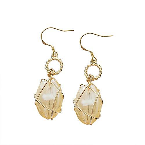 Demarkt 1 par de pendientes colgantes dorados de piedra natural, ganchos largos de metal para regalo de San Valentín o de cumpleaños, tamaño 7,4 cm x 7,4 cm