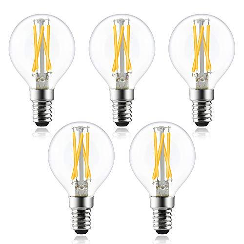 Bonlux Bombilla LED de 4 W, E14, forma de gota, regulable, 400 lm, P45 G45, estilo Edison vintage, color blanco cálido, 2700 K, equivalente a 40 W, ángulo de haz de 330°, 5 unidades