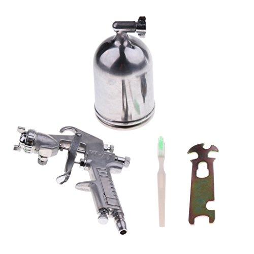 H HILABEE Profesionelle HVLP Farb Lack Spritzpistole Lackierpistole Sprühpistole Druckluft Behälter 1000 ml - Silber 2.5mm