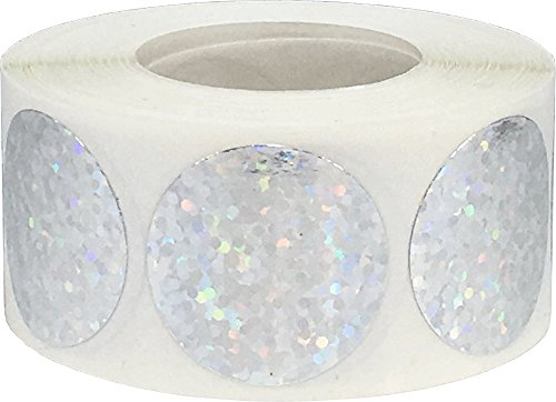 Silberne Funkelnde Kreis Aufkleber, 25 mm 1 Zoll Glänzende Holografische Punkt Etiketten 500 Packung