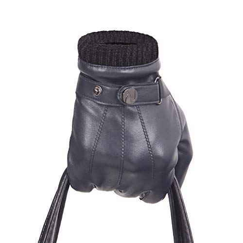 guanti pelle uomo Nappaglo ® Men PU Guanti in Pelle Guanti Touchscreen - Con Lungo Fodera in Pile Inverno Guida