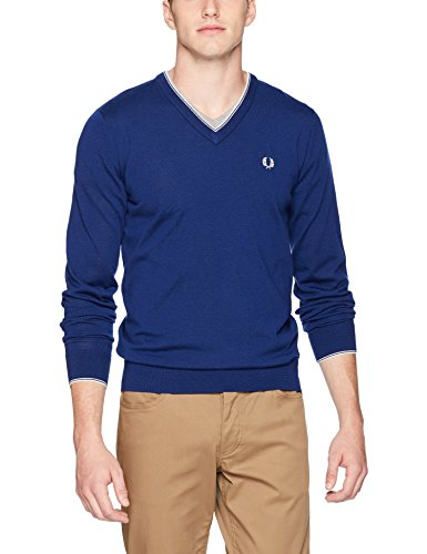 Fred Perry Herren Merino Tipped V-Neck Sweater Pullover, French Navy, Klein