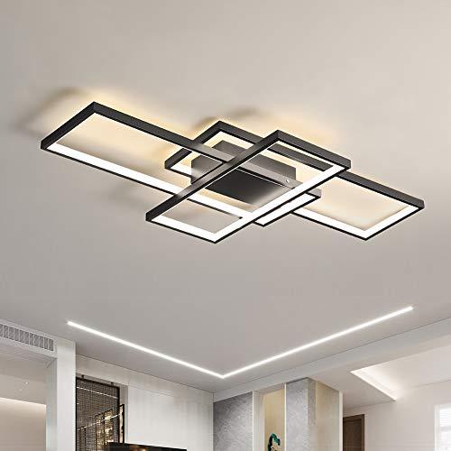 OKES Modern Ceiling Light, 78W LED Ceiling Lamp Black Square Acrylic Flush Mount Ceiling Lights Fixture for Bedroom Living Room Kitchen Office netural light/4000K 35.4inch
