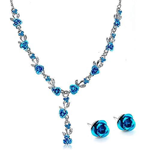 DGSDFGAH Collar De Mujer,Azul Rosa Flor Collar Boda Collar De Moda De Imitación Pendiente Conjunto De Boda Conjunto De Novia Africana Cuentas Joyería Conjunto Elegante Regalo para Las Mujeres