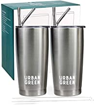 20oz Stainless Steel Tumblers with Lids by Urban Green,Vacuum Insulated Coffee Cup, Double Wall Travel tumblers with Spill-Proof Lids, 2 Pack, 4 Straws, 2 Pipe Brush Father's Day Gift (steel)