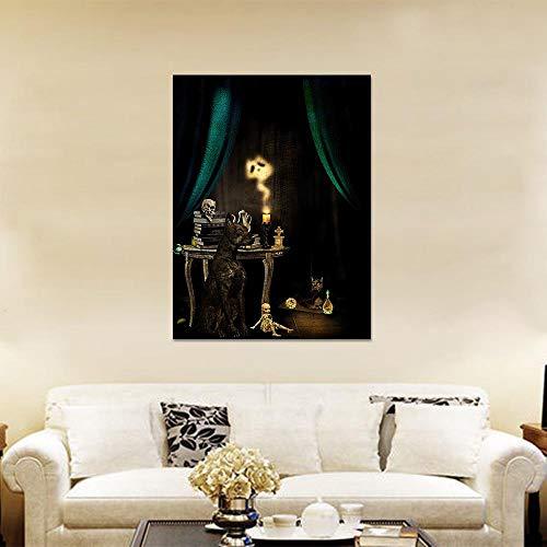 Canvas schilderij gotische zwarte hond schedel kaars posters en prints muur foto's voor woonkamer Wall Art decoratie-50x70cm geen frame