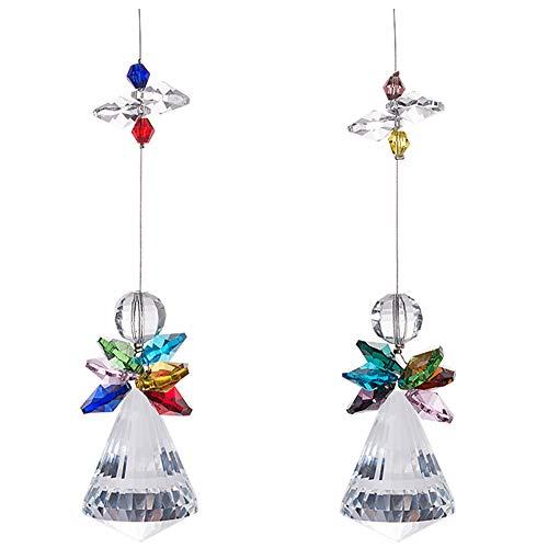 JAHEMU Atrapasol de Cristal Arcoíris Prisma de Bola de Cristal Colgantes de Cristal Angel para Ventana, Colgar en Casa, Oficina, Jardín, Juego de 2