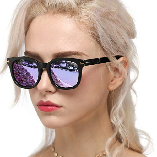 Myiaur Gafas de sol de moda para mujer Conducción polarizada Antideslumbrante Protección UV 100% Diseño elegante (Montura negra/lente morada)
