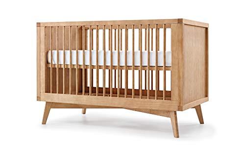 Simply Nursery Baby Retro 3-in-1 Convertible Crib   Hazelnut Finish   Solid Wood   Modern Design