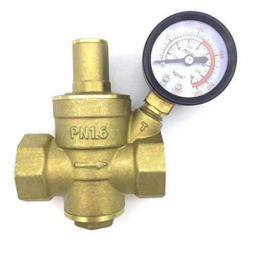 """HGFHGD DN20 Messingventil 3/4""""Wasserdruckregler mit Manometer für Wasserdruckminderventil einstellbares Verbindungsventil"""