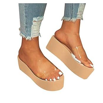 HIRIRI Summer Clear Strap Sandals for Women High Heels Peep Toe Platform Dress Shoes Flats Slippers Khaki