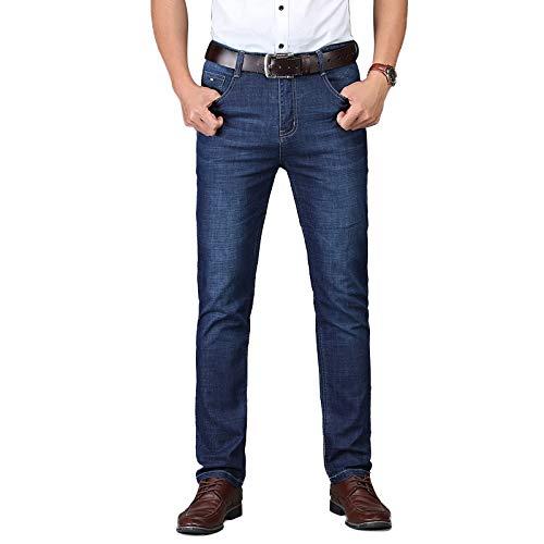 Beastle Pantalones Vaqueros para Hombre Primavera nuevos Pantalones Vaqueros elásticos Casuales Ciudad de Negocios Pantalones de Mezclilla Ajustados Rectos Finos 34