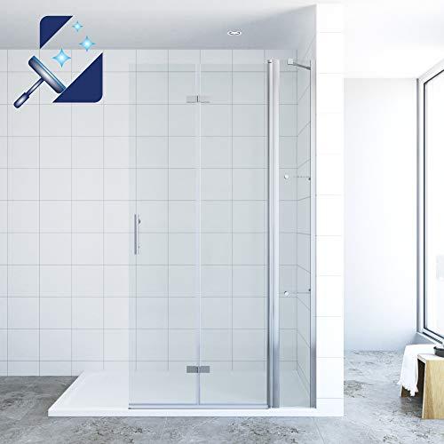 AQUABATOS® 105 x 195 cm Faltbar Duschwand Glas Duschabtrennung Walk in Dusche aus 6 mm Nanobeschichtung Glas, Faltwand Glas für duschwanne mit Festteil seitenteil und Wandablagen Glasregalen