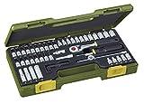 PROXXON Steckschlüsselsatz, Feinmechaniker-Satz mit 1/4'-Umschaltratsche sowie Schraubendrehergriff, 50-teiliges Werkzeug-Set mit Kunststoffkoffer, 23280