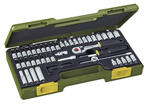 """PROXXON Steckschlüsselsatz, Feinmechaniker-Satz mit 1/4""""-Umschaltratsche sowie Schraubendrehergriff, 50-teiliges Werkzeug-Set mit Kunststoffkoffer, 23280"""