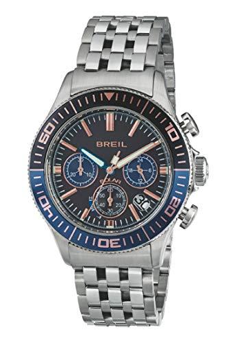 Armbanduhr BREIL Mann Manta 1970 quadrante schwarz e uhrarmband in Stahl schwarz-blau-goldenen rosa, Werk Chrono SOLAR-Uhr