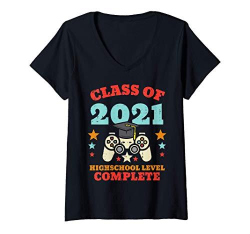 Femme Class 2021 Gaming High School Complete Graduation Gamer T-Shirt avec Col en V