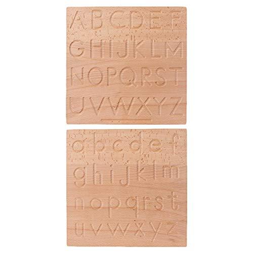Tableau de traçage l'alphabet, tableau l'alphabet bois double face Montessori Lettres développement éducatives Intéressant d'écriture lettres Jouet d'apprentissage scolaire enfants d'âge préscolaire