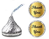 Gold Foil Thank You Kisses Stickers, (Set of...