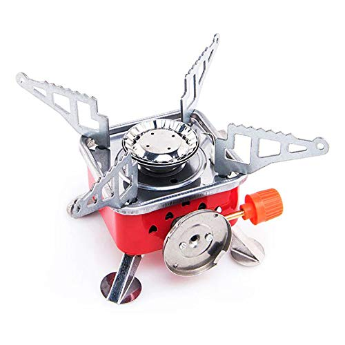 SIBY Outdoor Gas Stove Mini Copper Camping Stoves Foldable Burners Cooking Picnic Furnace, 1Pc (Red)