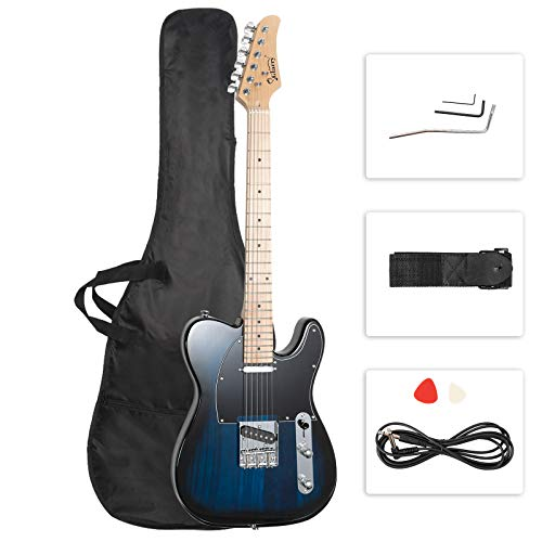 GLARRY 39' GTL Electric Guitar for Music Lover, SS Pickups Maple Fingerboard with Accessories Pack Guitar Bag (Dark Blue)