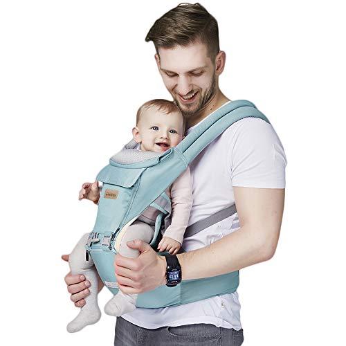 11 in 1 Baby Carrier/Babytrage/Bauchtrage/Rückentrage Neugeborene 360 One for All Seasons- 6 Position für Säuglinge von 0 bis 36 Monaten oder von 0 bis 15 Kg (Blau)