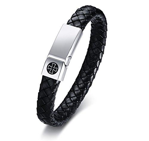 VNOX Herren Edelstahl echtes geflochtenes Leder Die Tempelritter Malteserkreuz Manschette Armband,21,5 cm