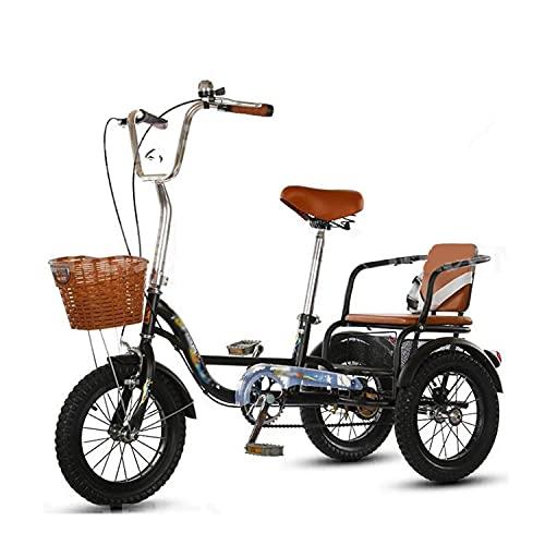 Triciclo para adultos bicicleta 14en El Triciclo Adulto De La Bicicleta De Adultos De Acero De Alto Carbono Con Asiento Trasero Y Cesta De Compras Para Que Los Padres Puedan Recoger Y Dejar A Los Niño