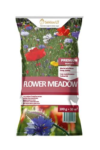 Seklos LT | RASENMISCHUNG BLUMENWIESE - MEADOW FLOWERS | Blühende Wiese | Pflegeleichtigkeit | Rasensamen | Grassamen | Blumensamen | Ist freundlich zu Bienen | Paket 0.1 KG