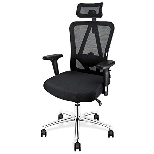 MFAVOUR Ergonomic Office Chair MFV-02 with Adjustable Headrest, Lumbar Support, 3D Armrests, Heavy Duty Swivel Desk Task Chair with Tilt Function and Lock Position, Thick Seat Cushion, Black